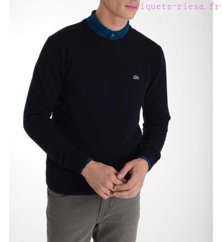 Lacoste pull droit en laine col montant zippé