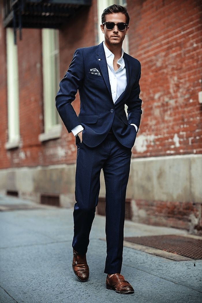 Costume homme bleu marine chaussure marron - fermeleycaut.fr e95e21e0fe0