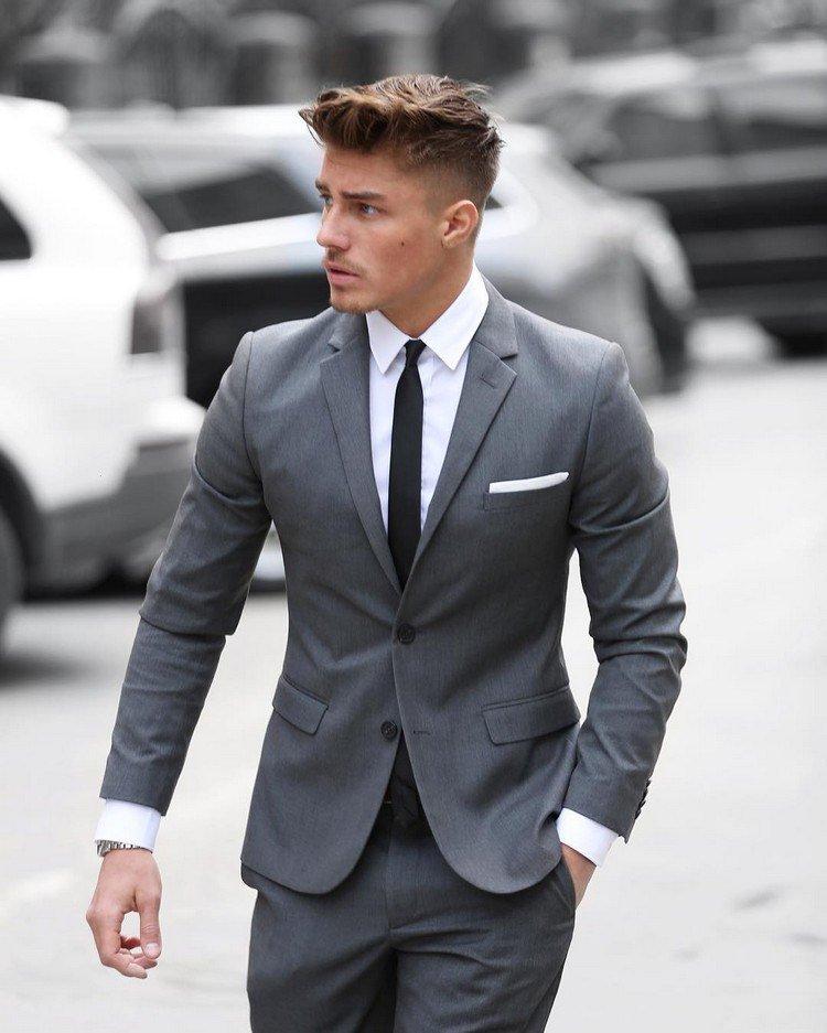 Costume homme gris chemise bleu