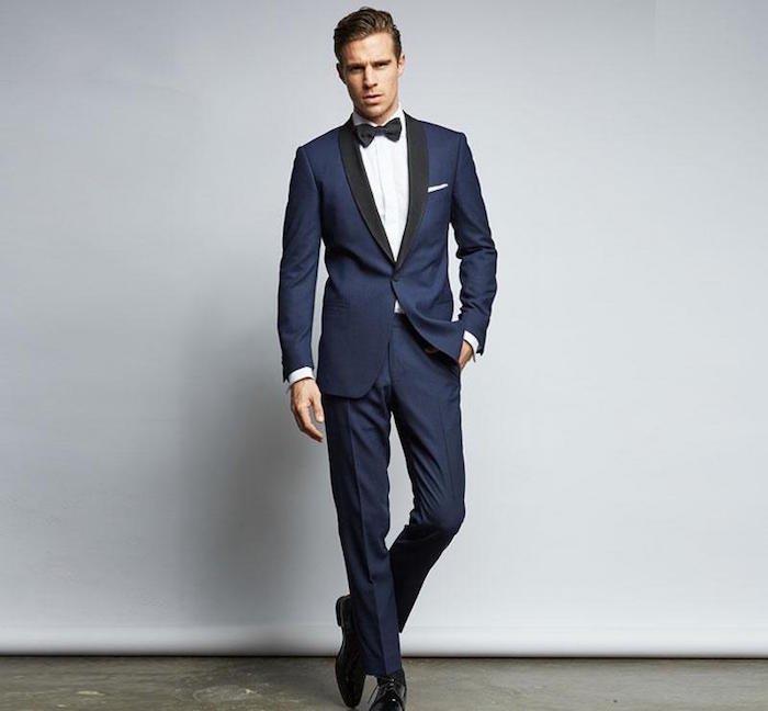 style populaire mode designer pas mal Costume homme bleu avec noeud papillon - fermeleycaut.fr