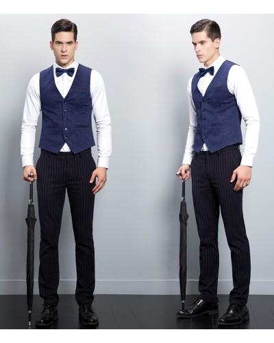 bon ajustement aliexpress large choix de couleurs Costume homme gilet bleu - fermeleycaut.fr