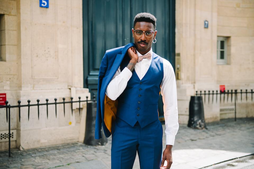 Veste costume homme avec noeud papillon