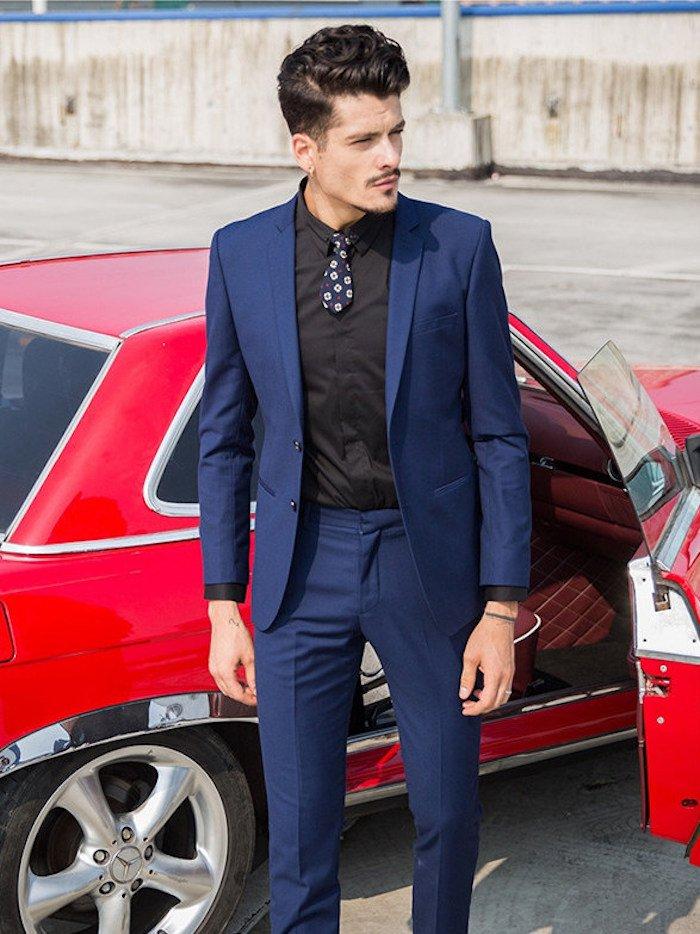 Costume bleu avec chemise noir - fermeleycaut.fr ad579c592c2
