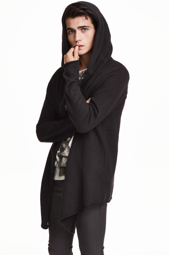 H&m black hooded cardigan