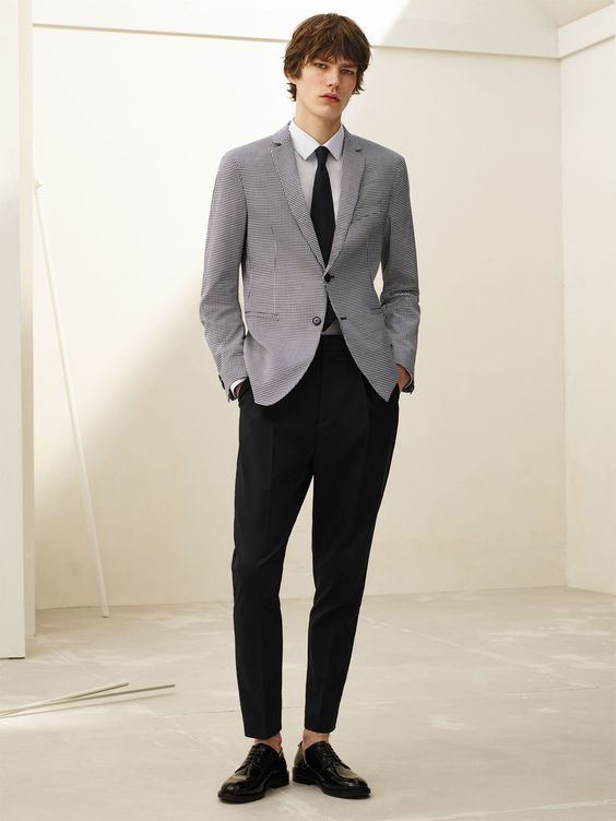 Grey blazer black pants