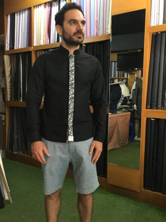 Chemise col mao avec blazer
